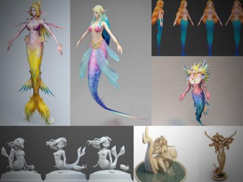 10 merenneito-rig-3D-mallikokoelmaa