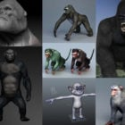 10 Realistic Monkey 3D Models Collection