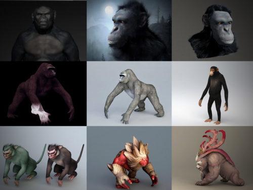 15 Gorilla 3D -mallikokoelma