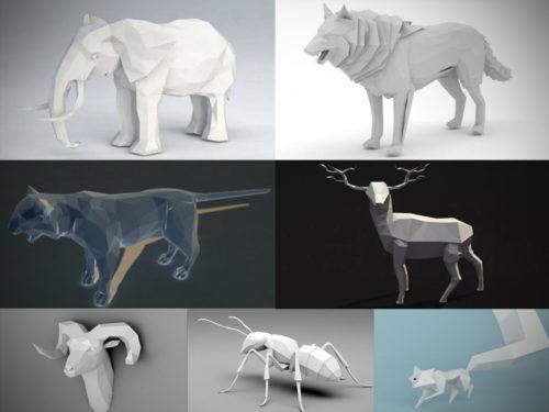 15 Lowpoly Colección de modelos de animales 3D