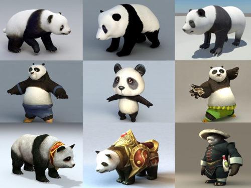 15 مجموعة نماذج الدب الباندا 3D