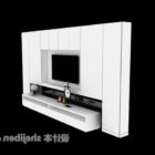 خزانة حائط تلفزيون حديثة بيضاء