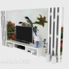 جدار التلفزيون الصيني مع وعاء النبات