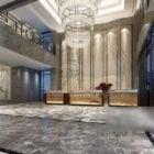 豪華なホテルホールのシャンデリアのインテリアシーン