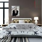 白い点線のパターンのベッド