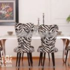 Zebra Pattern Table And Chair