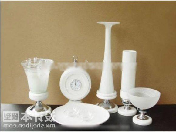 White Vase And Candle Stick Tableware Decorative
