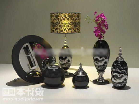Black Vase And Lamp Tableware Decorative