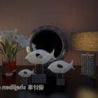 鉢植えで飾る食器