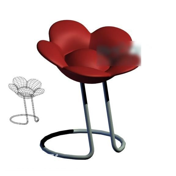 Flower Shaped Red Bar Chair
