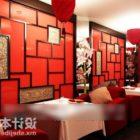 中華料理店のテーブルと椅子のセット