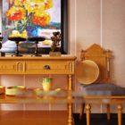 Konsolbord och stol Gul trä V1