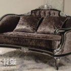 Antyczna aksamitna sofa w stylu Chesterfield