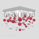Czerwony kryształowy żyrandol sufitowy