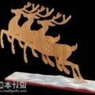 New Year Wood Deer Sculpture