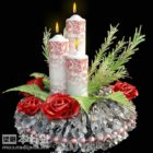 New Year Candle With Flower Set
