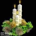 Candles Set With Flower New Year Holiday