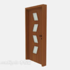 Drewniane Drzwi Z Małymi Szklanymi Oknami