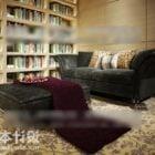 Table de canapé en velours vintage dans la salle de lecture