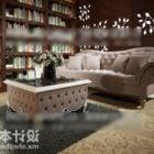 Table de canapé classique dans la salle de la bibliothèque