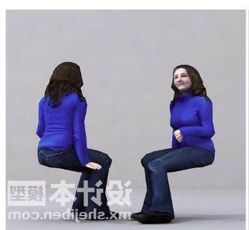 Woman Blue Shirt Sitting Pose