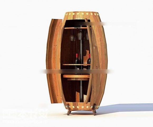 Wine Cabinet Wooden Barrel Shaped