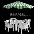 Zewnętrzny stół i krzesło z parasolem V1