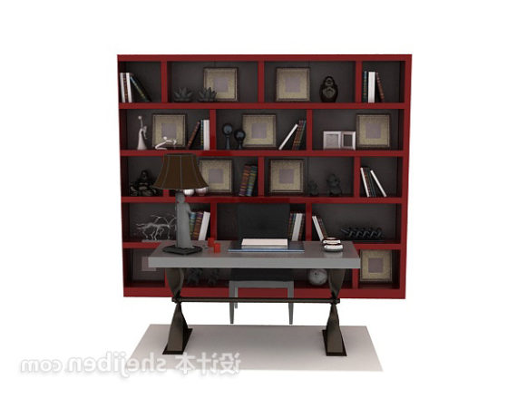 Bookcase With Table Wood Furniture
