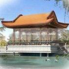 Chiński budynek z widokiem na jezioro