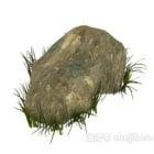 Roccia di pietra con erba
