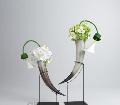 Horn Flower Ornament With Stand