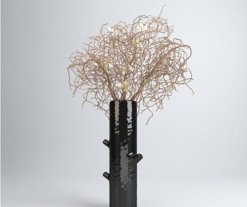 Black Vase Ornament Floral Plant