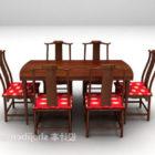 Kiinalainen puu-ruokapöydän tuolisarja