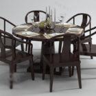 Puinen pyöreä ruokapöydän tuoli
