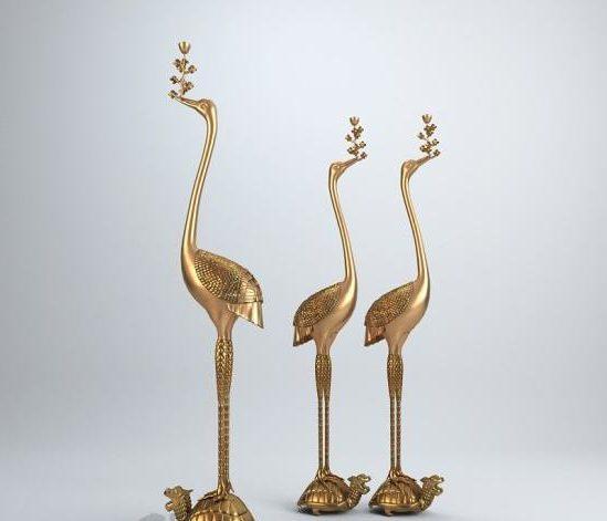 Escultura Golden Bird Crane