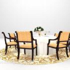 Eurooppalainen ruskea matto pyöreä ruokapöytä
