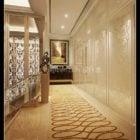 Femstjärnigt hotellkorridor interiör scen