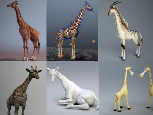 Colección de animales de 10 modelos 3D de jirafa