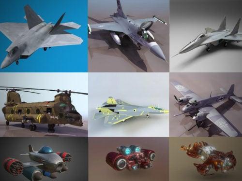 Colección de modelos 3D de aviones altamente detallados 2020