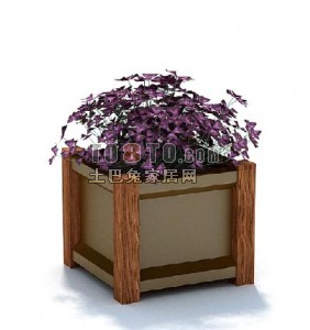 Potted Bonsai Flower Wooden Box