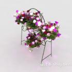 花の茂みと鉄の花スタンド