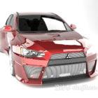 レッド三菱ランサーエボリューションカー
