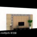シンプルなテレビの背景の壁の木製仕上げ