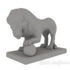 Outdoor Lion With Ball Sculpture Statue