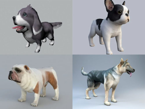 Realistic Dog 3d Models Collection