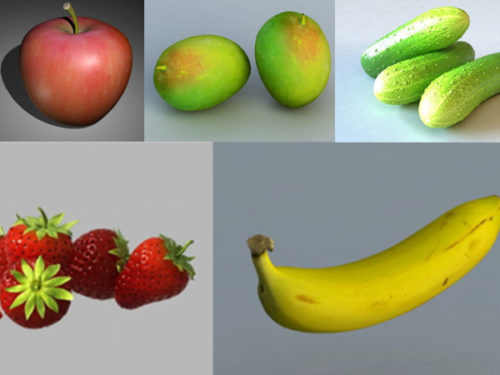 مجموعة نماذج ثلاثية الأبعاد مجانية من الفواكه الواقعية