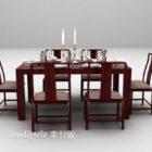 Punainen puu ruokapöytä ja tuoli