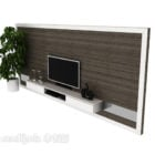 Tv Wall Mdf With Potted Plant