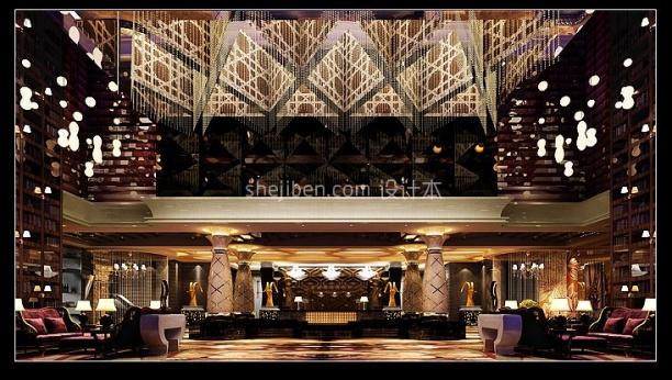 Luxurious Hotel Large Hall Interior Scene
