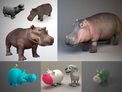 10 Animal Hippo 3D -mallikokoelma